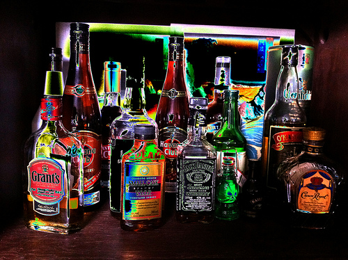 Alcohol bottle different kinds photo